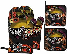 Oven Mitts and Pot holders 4pcs Set,Hand Painting