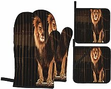 Oven Mitts and Pot Holders 4pcs Set,Lion Circus