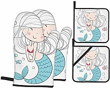 Oven Mitts and Pot Holders 4pcs Set,Little Mermaid