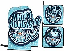 Oven Mitts and Pot Holders 4pcs Set,Logo Winter