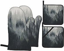 Oven Mitts and Pot Holders 4pcs Set,Misty
