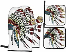 Oven Mitts and Pot Holders 4pcs Set,Native