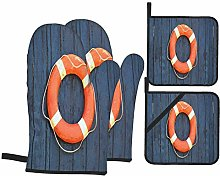 Oven Mitts and Pot holders 4pcs Set,Old Orange