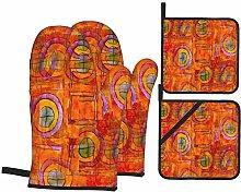 Oven Mitts and Pot holders 4pcs Set,Orange
