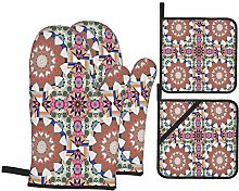 Oven Mitts and Pot holders 4pcs Set,Ornamental