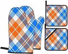 Oven Mitts and Pot holders 4pcs Set,Plaid Texture