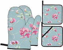 Oven Mitts and Pot holders 4pcs Set,Purple Pink
