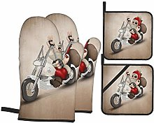 Oven Mitts and Pot Holders 4pcs Set,Santa Claus