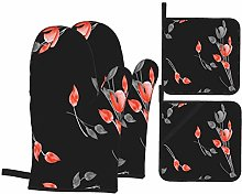 Oven Mitts and Pot holders 4pcs Set,Seamless