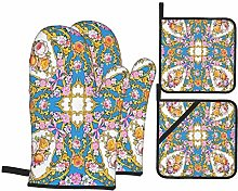 Oven Mitts and Pot Holders 4pcs Set,Square