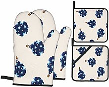 Oven Mitts and Pot Holders 4pcs Set,Style Hot Air