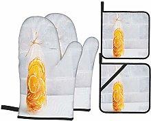 Oven Mitts and Pot holders 4pcs Set,Sunny Orange