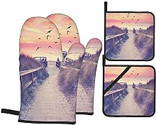 Oven Mitts and Pot Holders 4pcs Set,Sunset Summer