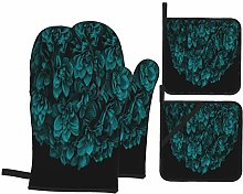 Oven Mitts and Pot Holders 4pcs Set,Teal Blue