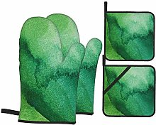 Oven Mitts and Pot holders 4pcs Set,Texture Green