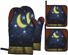Oven Mitts and Pot Holders 4pcs Set,Theater Stage