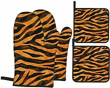 Oven Mitts and Pot holders 4pcs Set,Tiger Black