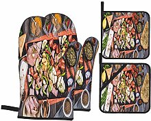 Oven Mitts and Pot Holders 4pcs Set,Top Down View