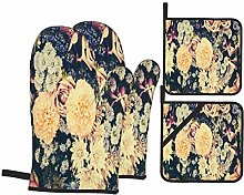Oven Mitts and Pot Holders 4pcs Set,Vintage Old