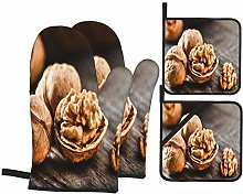 Oven Mitts and Pot Holders 4pcs Set,Walnuts On