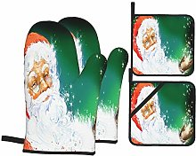 Oven Mitts and Pot Holders 4pcs Set,Watercolor