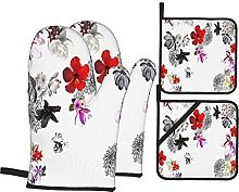 Oven Mitts and Pot holders 4pcs Set,White