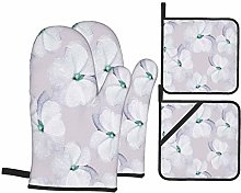 Oven Mitts and Pot Holders 4pcs Set,White Flowers
