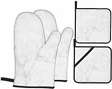 Oven Mitts and Pot holders 4pcs Set,White Gray