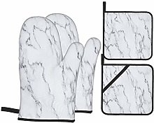 Oven Mitts and Pot Holders 4pcs Set,White Marble