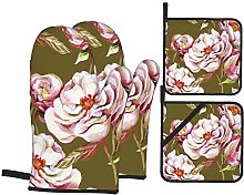 Oven Mitts and Pot holders 4pcs Set,White Peonies