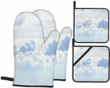Oven Mitts and Pot holders 4pcs Set,White Sky And