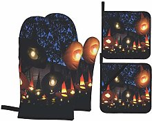 Oven Mitts and Pot Holders 4pcs Set,Witch Hat