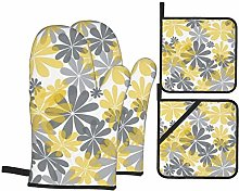 Oven Mitts and Pot Holders 4pcs Set,Yellow Gray