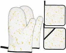 Oven Mitts and Pot holders 4pcs Set,Yellow White