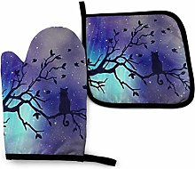 Oven Mitts and Pot Holders,Black Cat Starry Sky