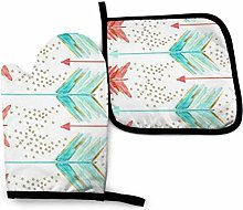 Oven Mitts and Pot Holders,Coral and Teal Arrows
