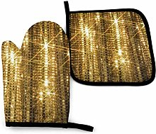 Oven Mitts and Pot Holders,Gold Sequin Sparkle