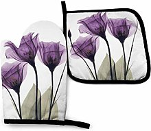 Oven Mitts and Pot Holders,Purple Flower Floral