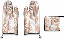 Oven Mitts and Pot Holders,Rose Gold Palm Leaves