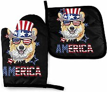 Oven Mitts And Pot Holdersset America Flag Dog