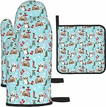 Oven Mitts and Pot Holders Set,Bearded Collie