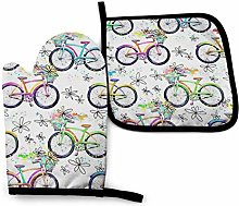 Oven Mitts And Pot Holdersset Beautiful Bicycle