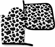 Oven Mitts and Pot Holders Set,Black and White Cow