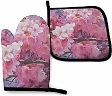 Oven Mitts And Pot Holdersset Blossoms Of Cherry
