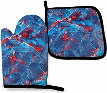 Oven Mitts And Pot Holdersset Blue Paint Red