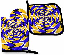 Oven Mitts And Pot Holdersset Blue Yellow Whirls