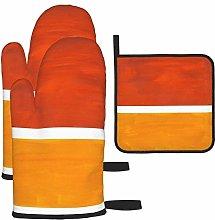 Oven Mitts and Pot Holders Set,Burnt orange yellow