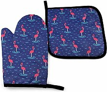 Oven Mitts and Pot Holders Set,Cartoon Pink
