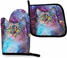 Oven Mitts And Pot Holdersset Cat In Space