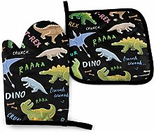 Oven Mitts And Pot Holdersset Dinosaurs Colored